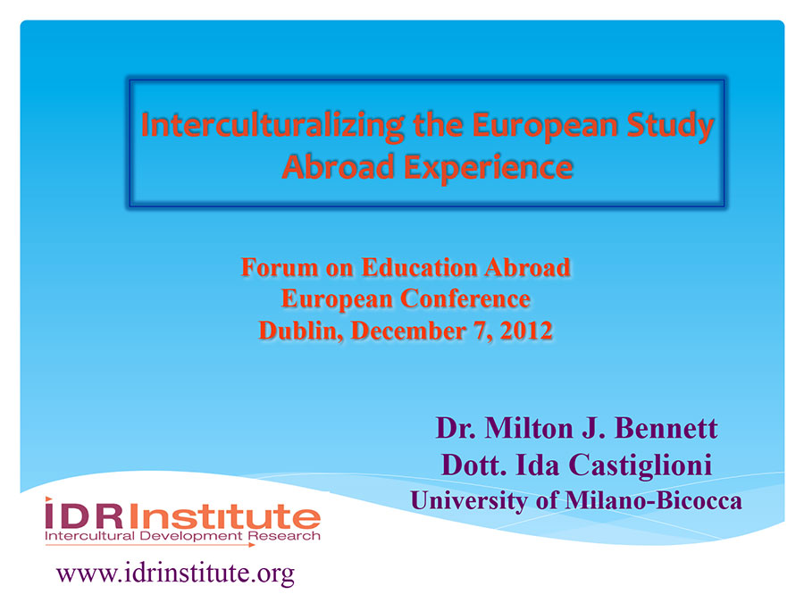 Interculturalizing the European Study Abroad Experience